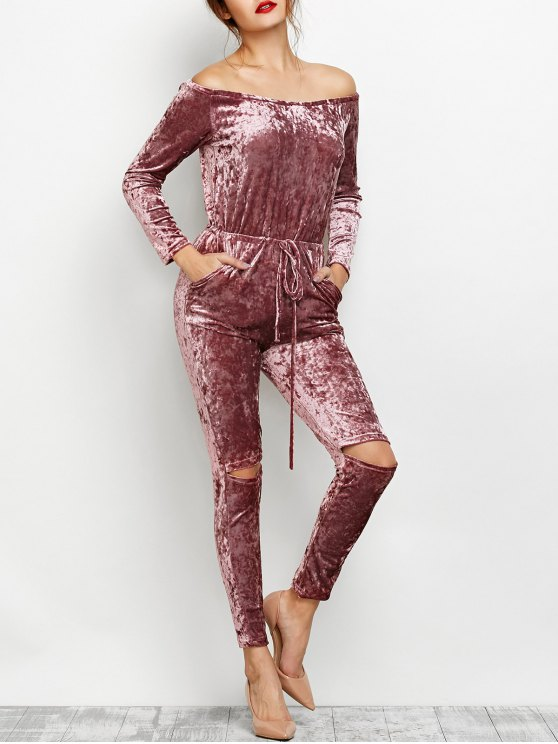 outfits Ripped Off Shoulder Velvet Jumpsuit - BEGONIA XL