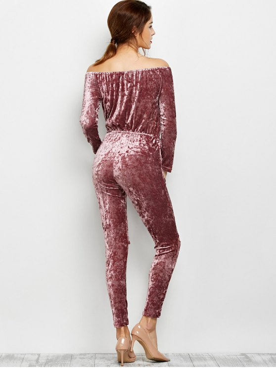 Ripped Off Shoulder Velvet Jumpsuit - BEGONIA XL Mobile