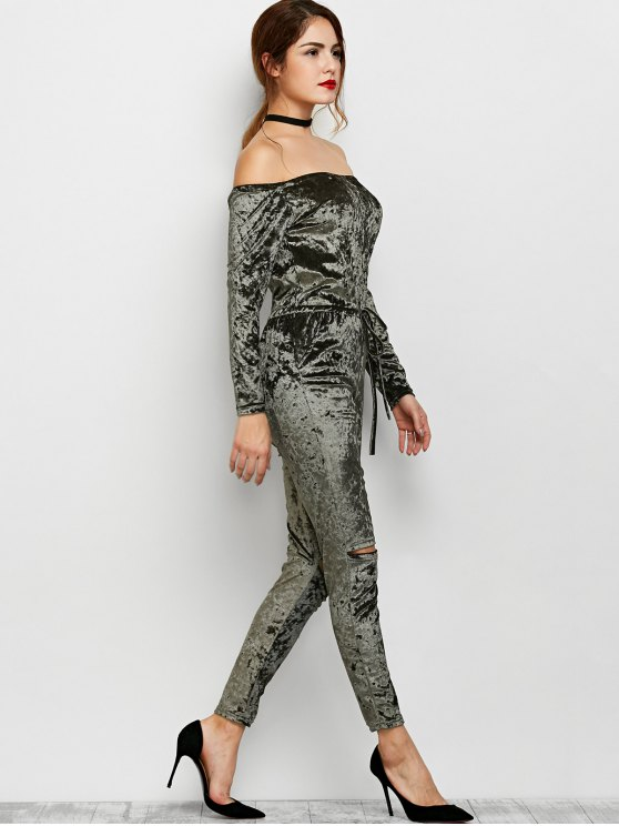 Ripped Off Shoulder Velvet Jumpsuit - ARMY GREEN S Mobile