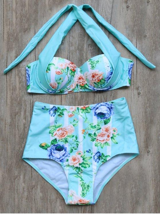 Atada floral del bikini de talle alto Set - Cián S