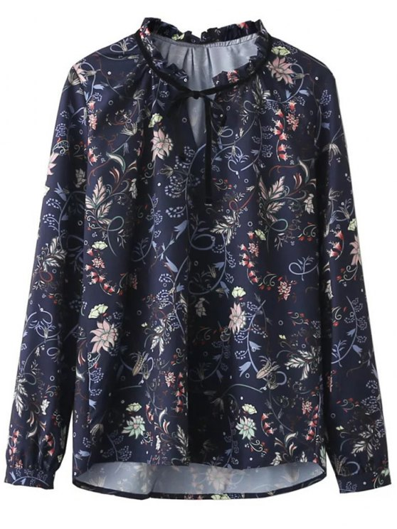 Frilled Tie Neck Floral Print Blouse - PURPLISH BLUE S Mobile