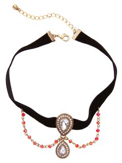 Vintage Rhinestone Teardrop Velvet Choker Necklace - Black