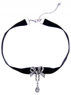 Bowknot Teardrop Rhinestone Velvet Choker Necklace - Black