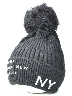 Knit Ribbed Pom Hat With NY Rubber - Deep Gray