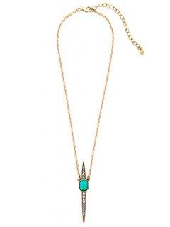 Vintage Rhinestone Necklace - Green
