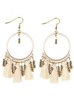 Geometrical Bohemian Tassel Circle Drop Earrings - White