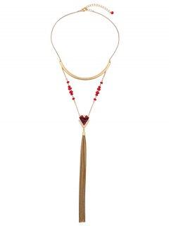Resin Vintage Geometric Fringed Necklace - Golden