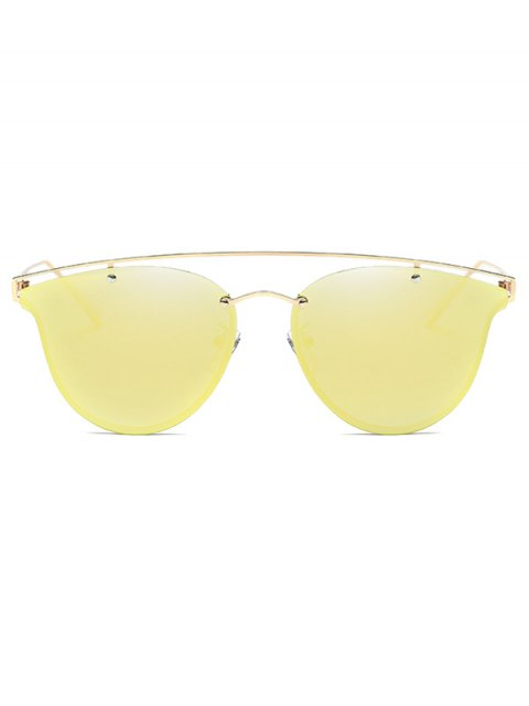chic Crossbar Metal Mirrored Butterfly Sunglasses - GOLDEN  Mobile