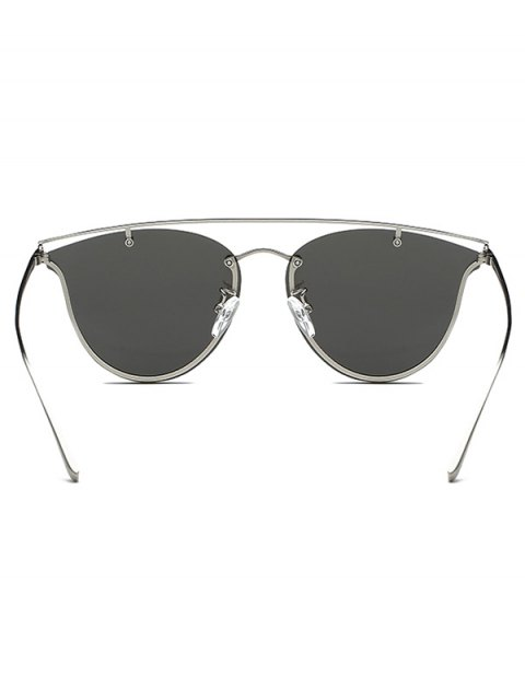 sale Crossbar Metal Mirrored Butterfly Sunglasses - SILVER  Mobile