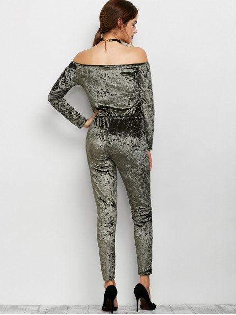 buy Ripped Off Shoulder Velvet Jumpsuit - ARMY GREEN S Mobile