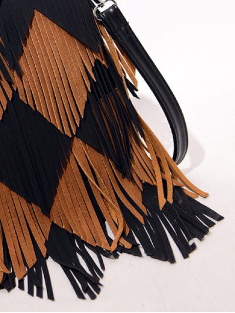 online Color Blocking Multi Fringe Handbag - BLACK  Mobile