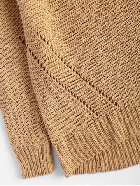 women's Relaxed Turtle Neck Pullover Sweater - KHAKI ONE SIZE Mobile