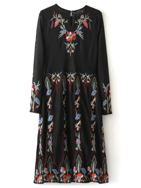 fashion Tea Length Embroidered Mesh Dress - BLACK M Mobile