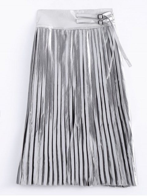 new Zippered Pleated Midi Skirt - SILVER ONE SIZE Mobile