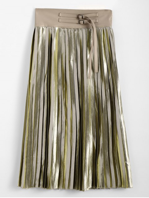 hot Zippered Pleated Midi Skirt - GOLDEN ONE SIZE Mobile