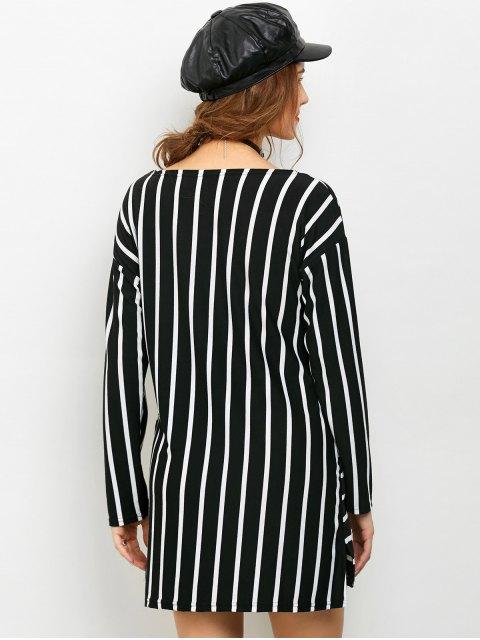 fashion Side Slit Long Sleeve Striped Mini Dress - STRIPE L Mobile
