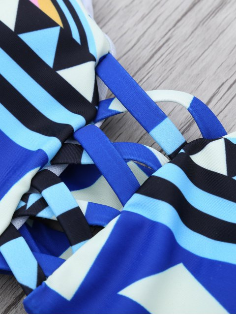 outfit Geometric Pattern Strappy Bikini - BLUE L Mobile