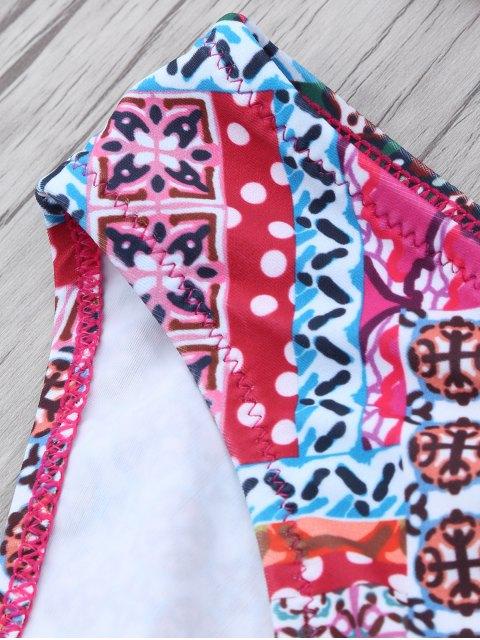 shops Patterned Lace Up Bikini Set - COLORMIX L Mobile