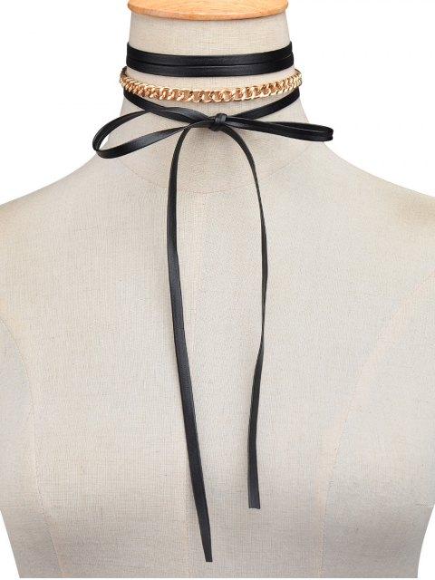 best Faux Leather Wrap Choker - GOLDEN  Mobile