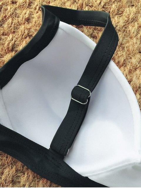 fashion Two Tone High Waisted Bikini Set - WHITE AND BLACK XL Mobile