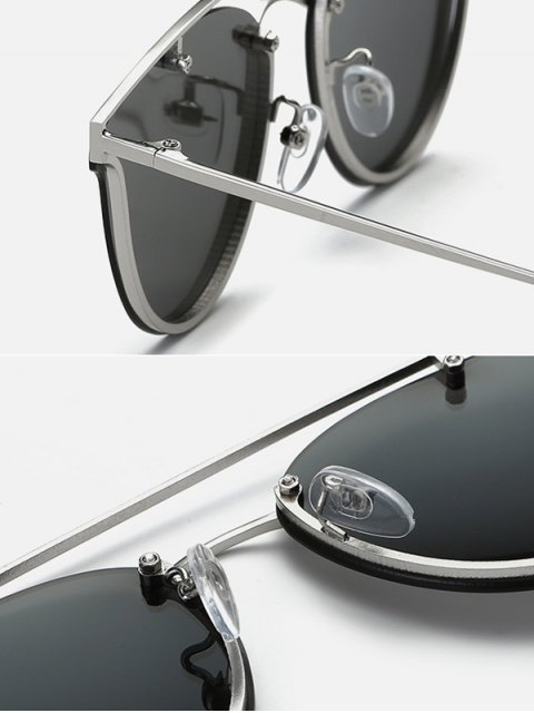 trendy Crossbar Metal Butterfly Sunglasses - BLACK  Mobile