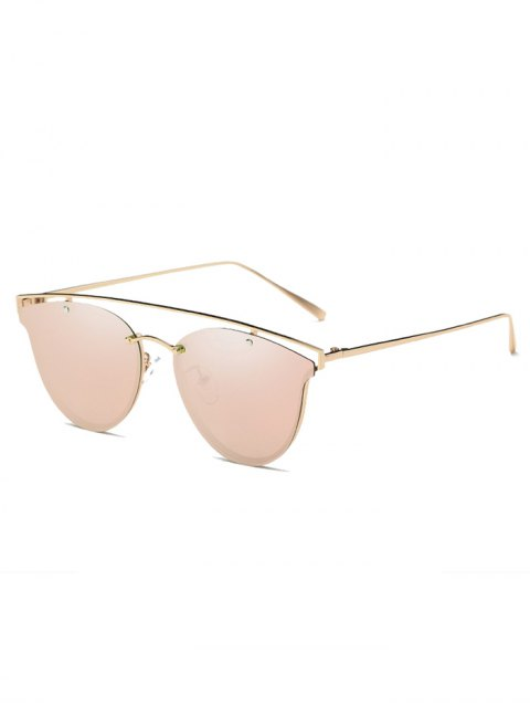 fancy Crossbar Metal Mirrored Butterfly Sunglasses - PINK  Mobile