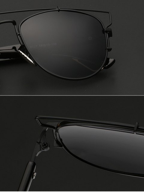 affordable Crossbar Metal Sunglasses - BLACK  Mobile