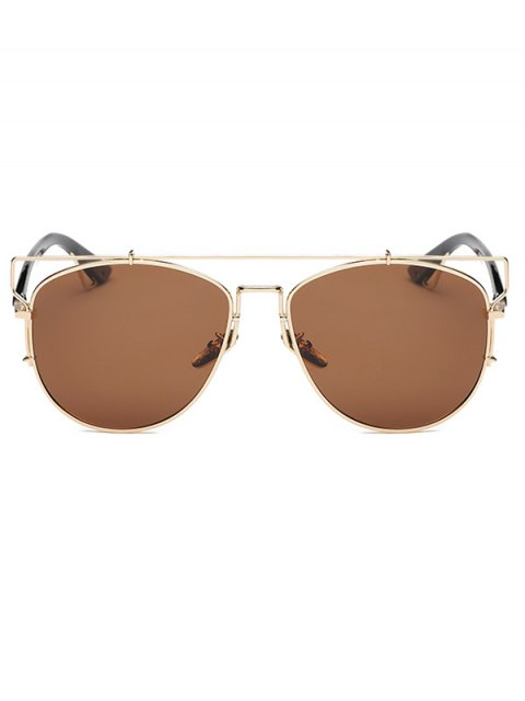 womens Crossbar Metal Sunglasses - TEA-COLORED  Mobile