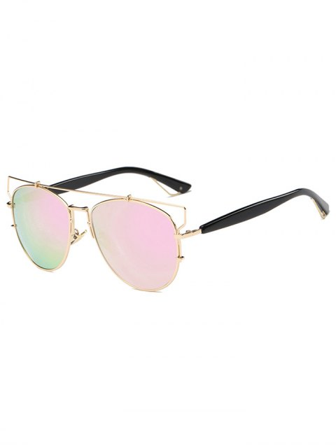 women Crossbar Metal Mirrored Sunglasses - PINK  Mobile