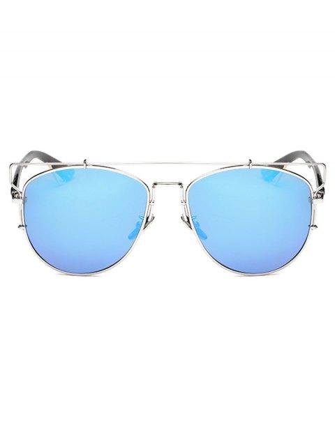 women's Crossbar Metal Mirrored Sunglasses - ICE BLUE  Mobile