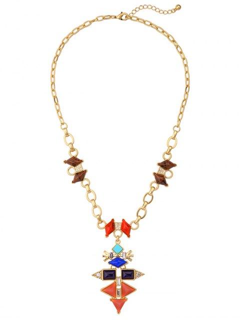womens Rhinestone Geometric Vintage Pendant Necklace - GOLDEN  Mobile