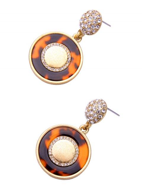 sale Rhinestone Circle Leopard Print Earrings - LEOPARD  Mobile