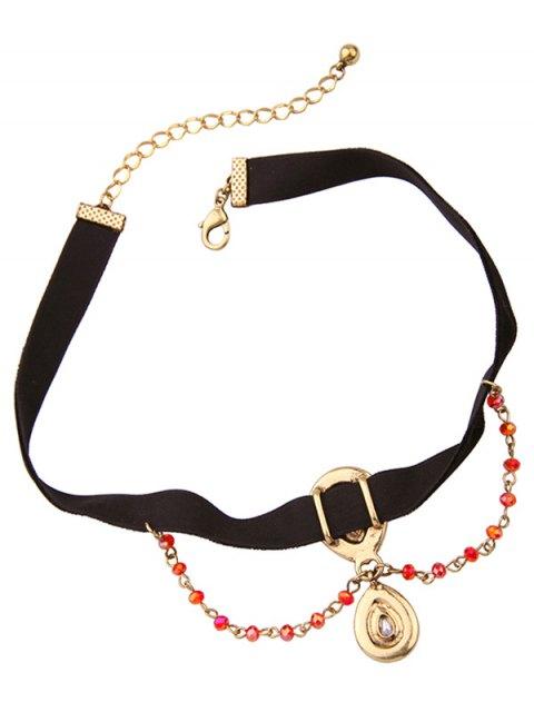new Vintage Rhinestone Teardrop Velvet Choker Necklace - BLACK  Mobile