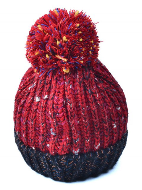 new Color Block Cable Knit Pom Hat with Labelling - RED  Mobile