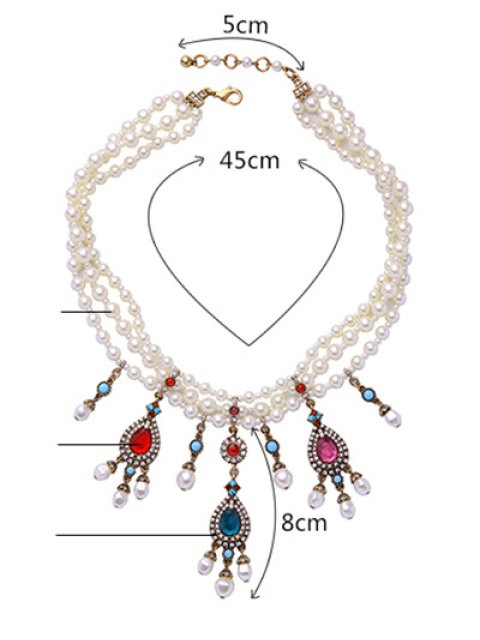 hot Teardrop Artificial Gem Pearl Necklace - WHITE  Mobile