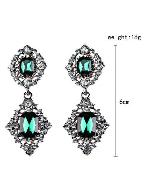 fashion Artificial Gems Embellished Drop Earrings - BLACKISH GREEN  Mobile