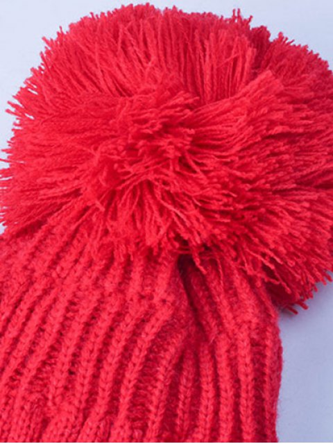 shops Knit Ribbed Pom Hat with NY Rubber - RED  Mobile