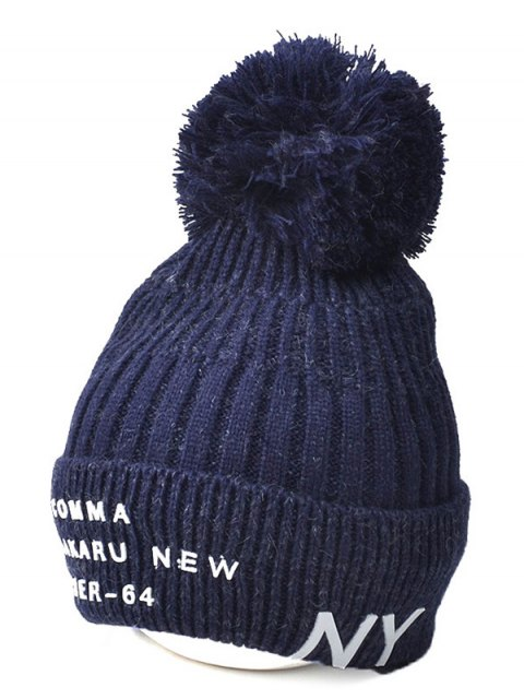 fashion Knit Ribbed Pom Hat with NY Rubber - CADETBLUE  Mobile