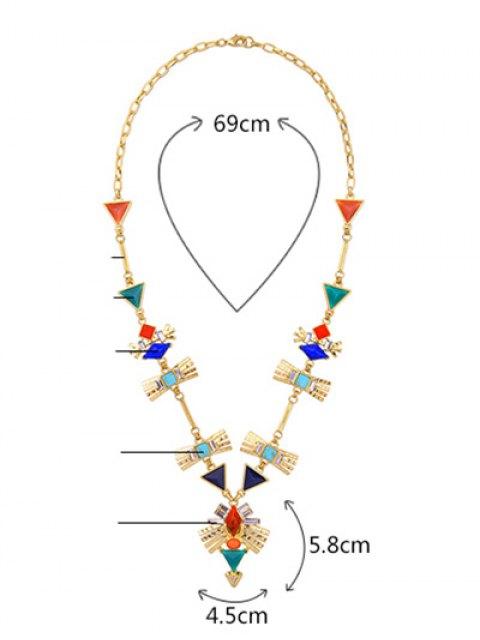 buy Rhinestone Artificial Turquoise Geometric Sweater Chain - GOLDEN  Mobile