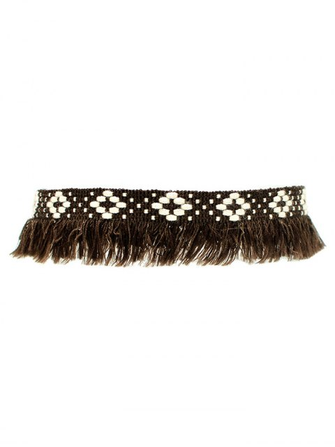 fashion Fringed Woven Choker - BROWN  Mobile