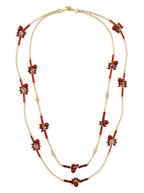 womens Layered Rhinestone Sweater Chain - RED  Mobile