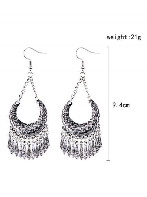 chic Geometrical Tassel Drop Earrings - SILVER  Mobile