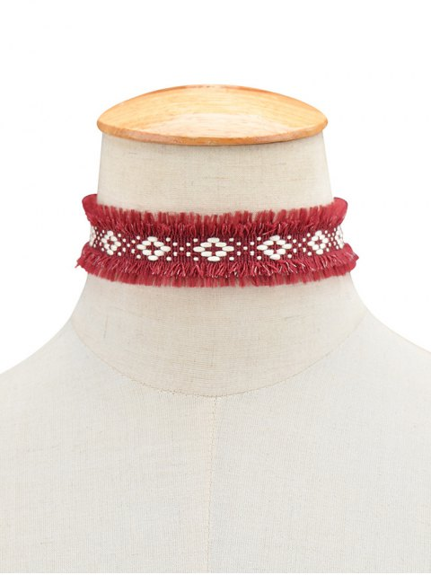 unique Woven Fringed Choker Necklace -   Mobile