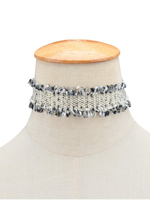 affordable Knitted Fringed Choker - BLACK  Mobile