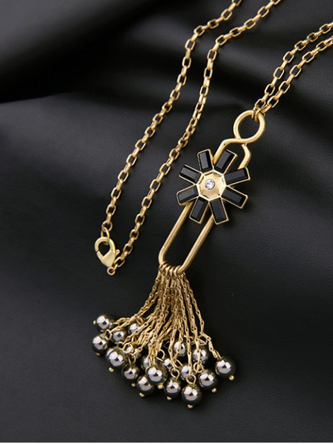 ladies Flower Fringed Beads Rhinestone Sweater Chain - BLACK  Mobile