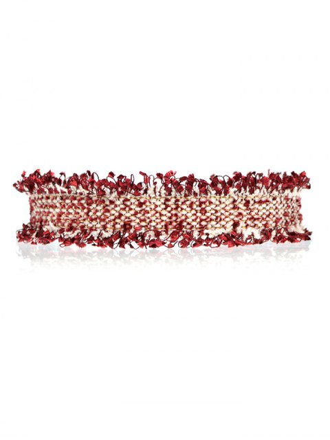 womens Knitted Fringed Choker - WINE RED  Mobile
