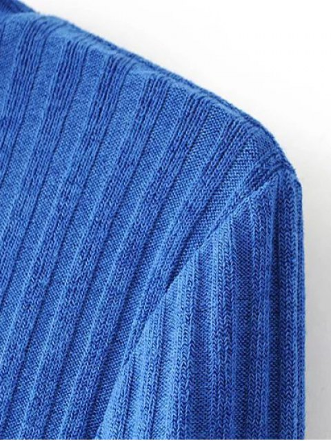 latest Ribbed High Neck Knitwear - BLUE S Mobile
