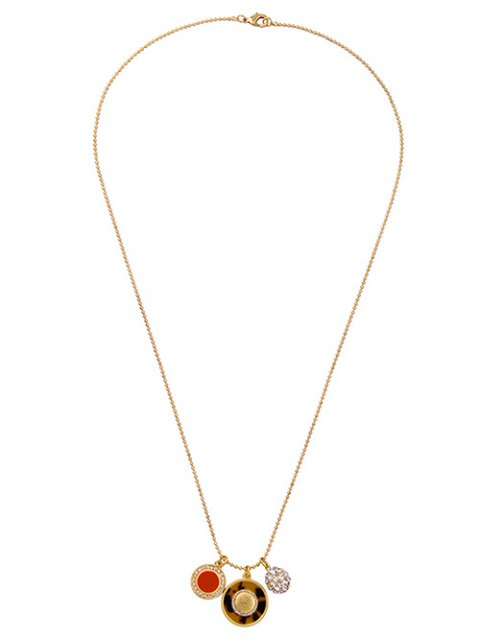 lady Leopard Print Rhinestoned Sweater Chain - GOLDEN  Mobile