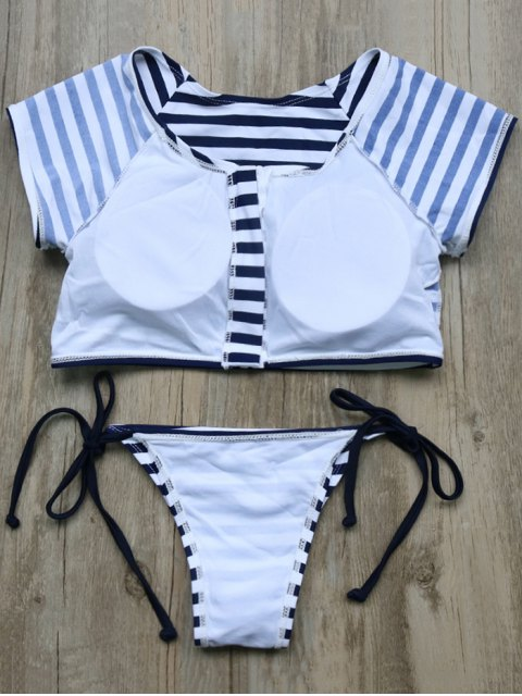 lady Full Zip Cropped Striped Tankini Set - DEEP BLUE L Mobile