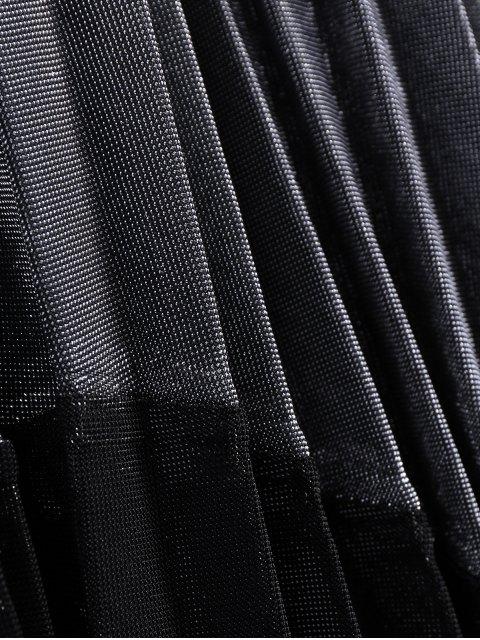 trendy Color Block Velvet Pleated Skirt - SILVER AND BLACK ONE SIZE Mobile